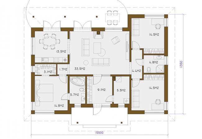 Каталог проектов домов - Дома для одной семьи - JOLANTA