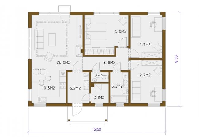Каталог проектов домов - Дома для одной семьи - EKO1