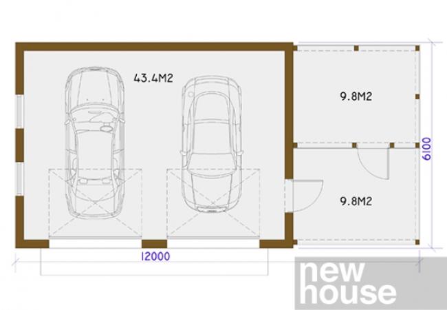 Каталог проектов домов - Гаражи - GARĀŽA ST2