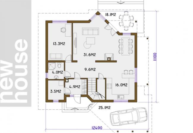 Каталог проектов домов - Дома для одной семьи - RAUNA