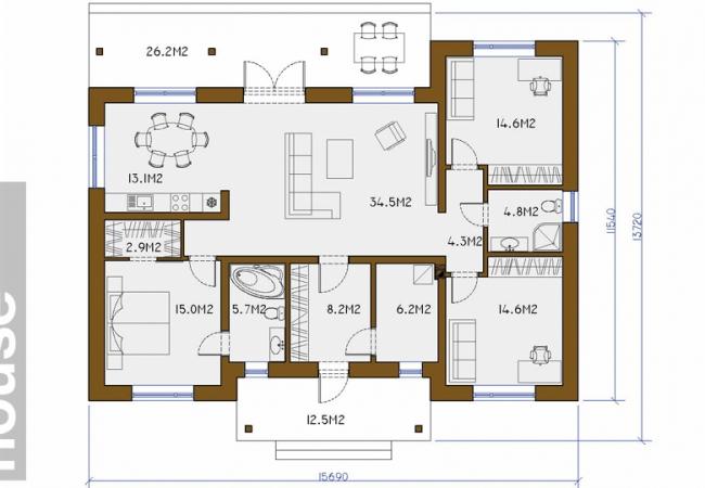Каталог проектов домов - Дома для одной семьи - Māja LM6