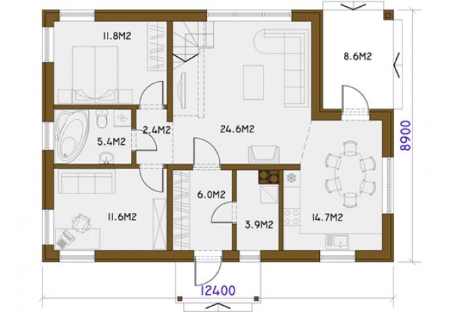 Каталог проектов домов - Дома для одной семьи - RASA PLUS