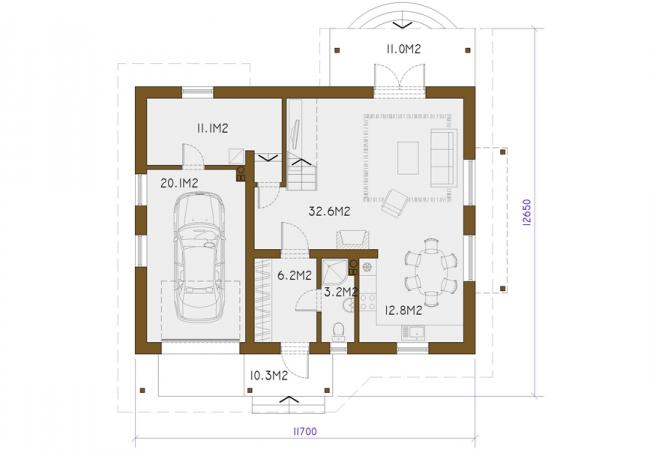 Каталог проектов домов - Дома для одной семьи - MAIJA