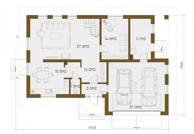 Каталог проектов домов - Дома для одной семьи - LAURA