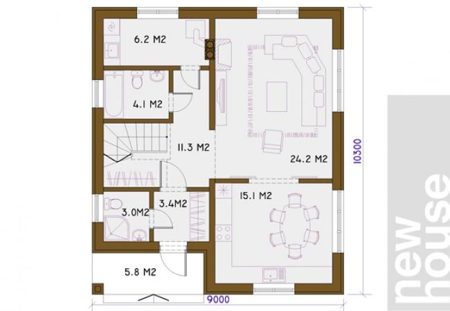 Māju projektu katalogs - Vienas ģimenes mājas - LILITA