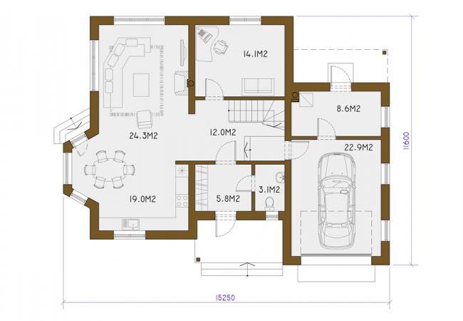 Каталог проектов домов - Дома для одной семьи - SANITA