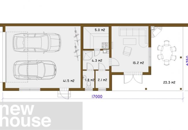 Каталог проектов домов - Гараж с баней - GARĀŽA UNO2