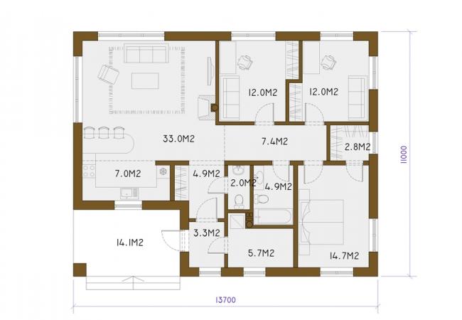 Māju projektu katalogs - Vienas ģimenes mājas - LAINE