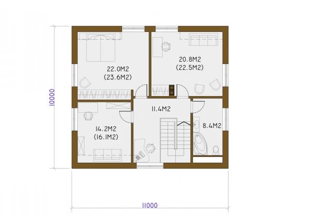 Каталог проектов домов - Дома для одной семьи - GULBENE 1