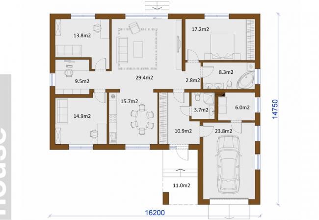 Māju projektu katalogs - Vienas ģimenes mājas - Māja LM7