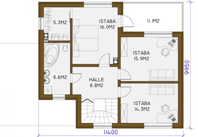 Māju projektu katalogs - Vienas ģimenes mājas - MONIKA